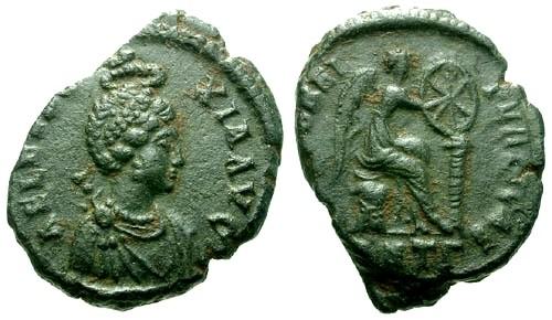 Ancient Coins - EF/VF Eudoxia Wife of Arcadius AE3 / Victory