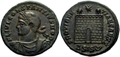 Ancient Coins - EF Constantius II, camp gate reverse
