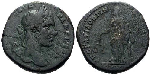 Ancient Coins - F/aF Macrinus AE27 Nicopolis / Nemesis