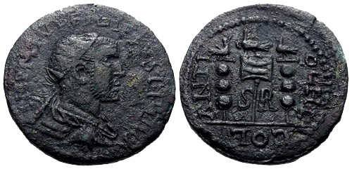 Ancient Coins - VF/VF Philip I Pisidia Antioch AE27 / Vexillum and standards