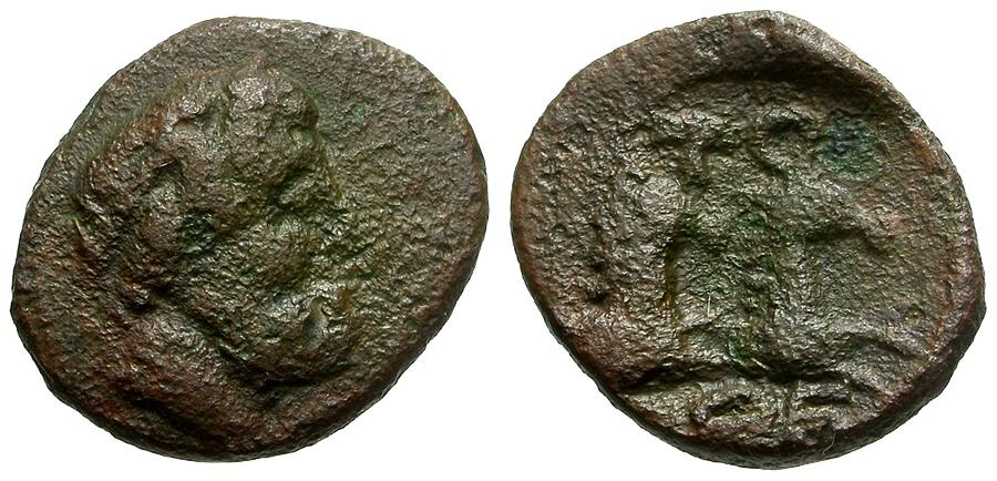 Ancient Coins - Moesia Inferior.  Tomis Æ13 / Zeus and Two Horses