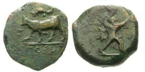 Ancient Coins - aVF/aVF Poseidonia Lucania AE14 Quadrans / Poseidon and Bull