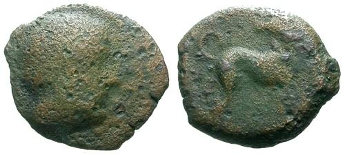 Ancient Coins - F/F Sicily Eryx AE13 / Dog