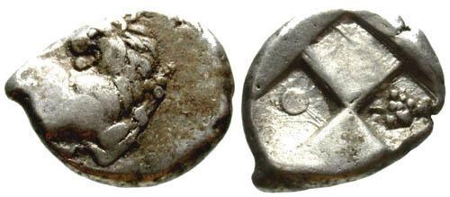 Ancient Coins - F+/VF AR Thrace Chersonese Hemidrachm / Lion & Grapes
