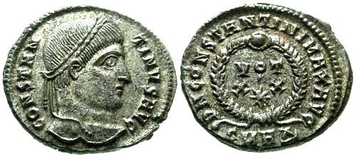 Ancient Coins - EF/EF Constantine I the Great Fully Silvered AE3 / Votive