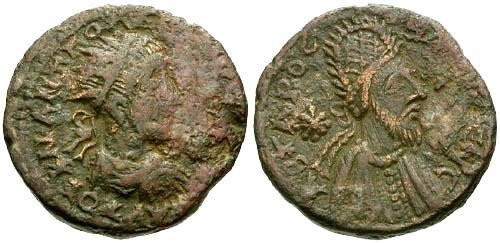 Ancient Coins - aVF/VF Gordian III and Abgar X Mesopotamia Edessa AE23 / Gordian and Abgar