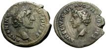 Ancient Coins - Antoninus Pius with Marcus Aurelius as Caesar AR Denarius
