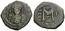 Byzantine Empire.  Maurice Tiberius Æ Follis