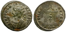 Ancient Coins - Probus Silvered Antoninianus / Roma in Temple