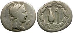 Ancient Coins - 81 BC - Roman Republic. Q. Caecilius Metellus Pius AR Denarius / Jug and Lituus