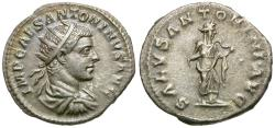 Ancient Coins - Elagabalus (AD 218-222) AR Antoninianus / Salus
