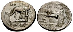 Ancient Coins - 58 BC - Roman Republic M. Aemilius Scaurus and Pub. Plautius Hypsaeus AR Denarius / Aretas and Camel