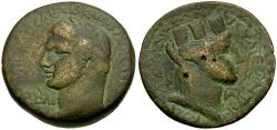 Ancient Coins - Domitian. Laodicea ad Mare Æ25 / Bust of Tyche