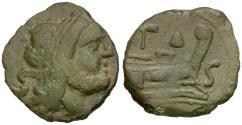Ancient Coins - 211-208 BC - Roman Republic Æ Semis / Apex & Hammer