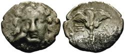 Ancient Coins - Caria, Mylasa AR Drachm / Helios and Bird / Rose