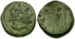 Ancient Coins - Lydia, Sardes Æ16 / Herakles / Apollo in Wreath