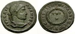 Ancient Coins - aEF/aEF Crispus Æ3 / Votive Wreath