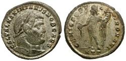 Ancient Coins - Galerius as Caesar Silvered Follis / Genius