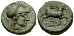 Ancient Coins - Thessaly. Thessalian League. Nyssandros, magistrate Æ17 / Horse