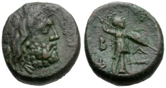 Ancient Coins - Kings of Macedon.  Philip V Æ17 / Zeus and Athena