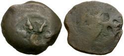Ancient Coins - Judaea. Alexander Jannaeus (103-76 BC). Widows Mite Æ Prutah / Brockage