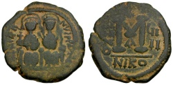 Ancient Coins - Byzantine Empire.  Justin II and Sophia Æ Follis