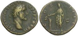 Ancient Coins - Antoninus Pius (AD 138-161) Æ Dupondius / Emperor Sacrificing