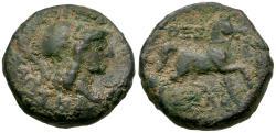 Ancient Coins - Thessaly. Thessalian League Æ18 / Horse