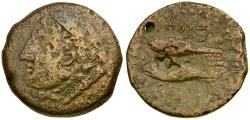 Ancient Coins - Spain. Iberia. Gades Æ26 / Tunny Fish