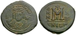 Ancient Coins - *Sear 533* Byzantine Empire. Maurice Tiberius (AD 582-602) Æ Follis
