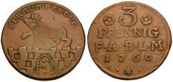 World Coins - German States. Anhalt-Bernburg. Victor Friedrich Copper 3 Pfennig / Bear on Wall