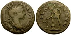 Ancient Coins - Elagabalus, Alexandria Troas Æ24 / Apollo