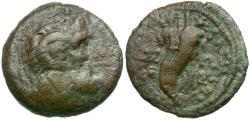 Ancient Coins - Ptolemaic Kings of Egypt. Ptolemy IX Soter Lathyros & Cleopatra III Æ Hemiobol / Cornucopia