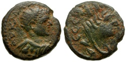 Ancient Coins - Caracalla. Mesopotamia. Edessa Æ17 / Bust of Tyche