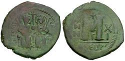 Ancient Coins - *Sear 379* Byzantine Empire. Justin II (AD 565-578) with Sophia Æ Follis