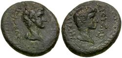 Ancient Coins - Germanicus (15 BC-AD 19) with Drusus Caesar. Lydia. Sardes Æ16 / Dual Portraits
