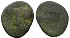 Ancient Coins - 137 BC - Roman Republic M. Baebius Q.f. Tampilus Æ Denarius / Roma and quadriga