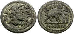 Ancient Coins - Lydia. Sardes. Pseudo-Autonomous Æ15 / Bull and Two Snakes