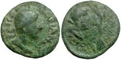 Ancient Coins - Hadrian. Cilicia. Coropissus Æ19 / Zeus or Herakles and Tree