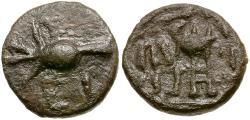 Ancient Coins - Sikyonia. Sikyon Æ Tetrachalkon / Dove Feeding
