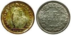 World Coins - Switzerland AR 1/2 Franc