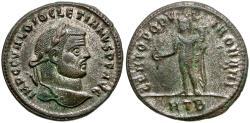 Ancient Coins - Diocletian Æ Silvered Follis / Genius