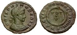 Ancient Coins - EF/VF Crispus Caesar Æ3 / Votive Wreath