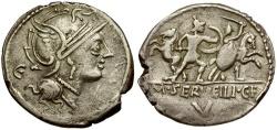 Ancient Coins - 100 BC - Roman Republic. M. Servilius C.f. AR Denarius / Soldiers Fighting