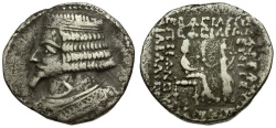 Ancient Coins - Kings of Parthia. Phraates IV AR Tetradrachm / Phraates and Tyche