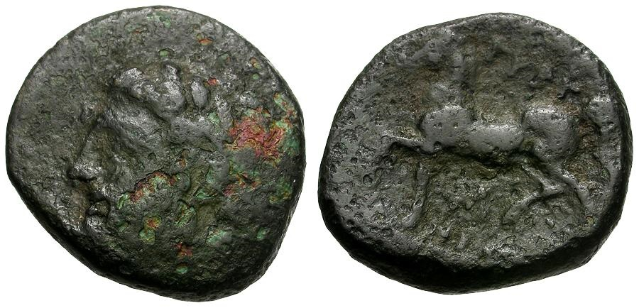 Ancient Coins - Thessaly.  Gyrton Æ21 / Zeus and Horse
