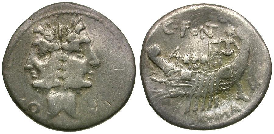 Ancient Coins - 114-113 BC - Roman Republic. C. Fonteius AR Denarius / Janiform & Galley