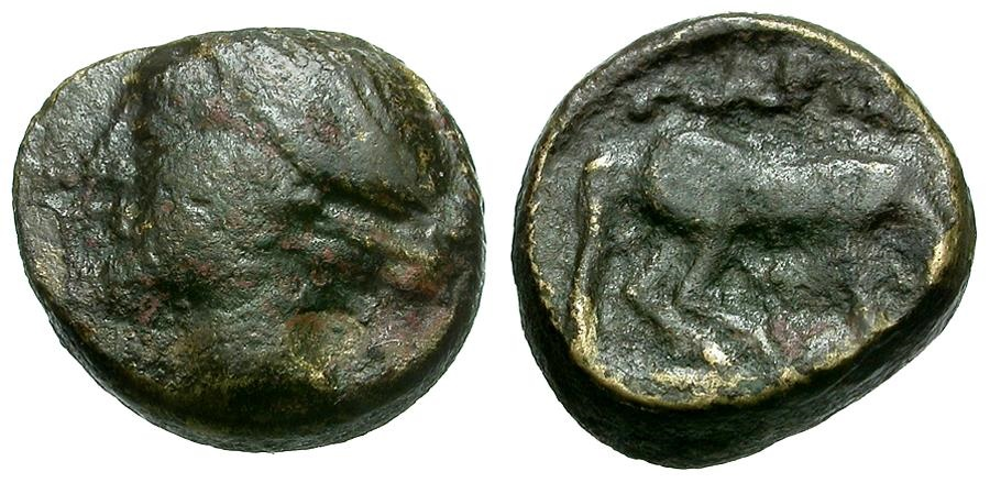 Ancient Coins - Thessaly.  Larissa Æ11 / Nymph and Horse