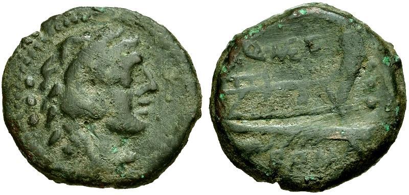 Ancient Coins - 130 BC - Roman Republic. Q. Caecilius Metellus Æ Quadrans