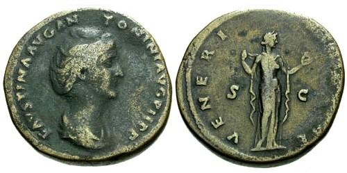 Ancient Coins - F/gF Faustina I AE Sestertius / Venus